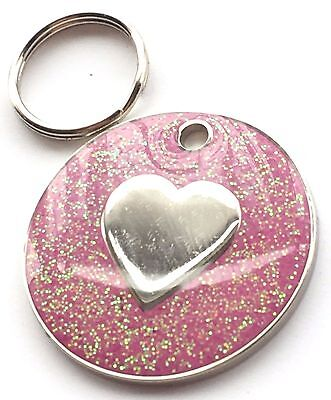 Personalised Engraved Pink Glitter Love Heart - Dog/Cat Pet ID Tag 26mm
