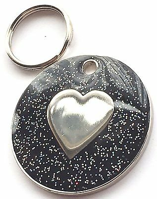 Personalised Engraved Black Glitter Love Heart - Dog/Cat Pet ID Tag 26mm