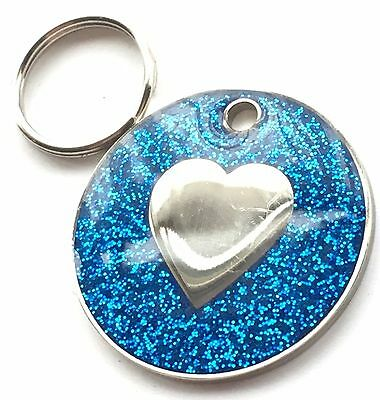 Personalised Engraved Blue Glitter Love Heart - Dog/Cat Pet ID Tag 26mm