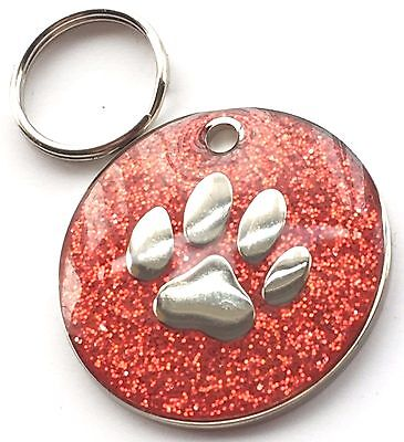Personalised Engraved Red Glitter Paw Print - Dog/Cat Pet ID Tag 26mm
