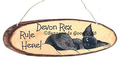 New Devon Rex Cat Rule Here Painting Laminated Hanging Sign  By Suzanne Le Good