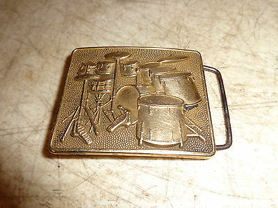 "Very Cool Vintage 1980 ""Drum Set"" Music Solid Brass Belt Buckle 6201"