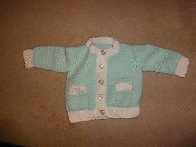 Hand Made Knitted Mint Green & White Sweater Child's Size 12 mos - 2T