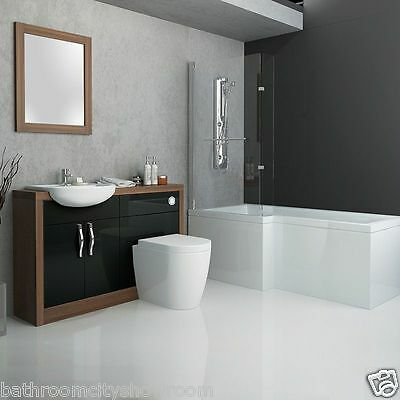 Bathroom 1700mm Shower Bath Suite with Walnut Black Vanity Unit Toilet and Sink
