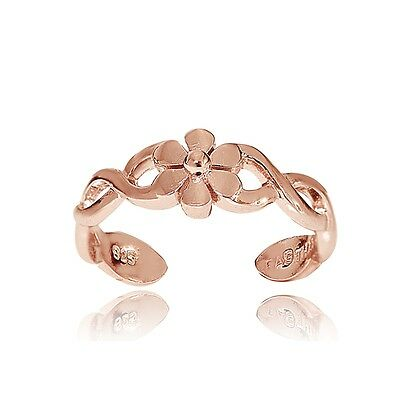 Rose Gold over Silver Braided Daisy Flower Toe Ring