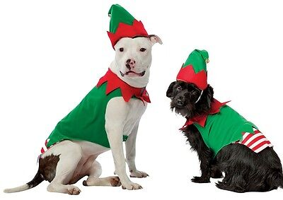 Christmas Elf Pet Costume - 7 Sizes - Christmas Santa's Helper Dog Cat fnt