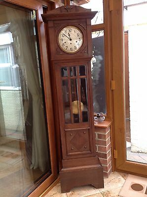 Art Deco Style Oak Longcase Grandmother Clock With Westminster Chime Movement