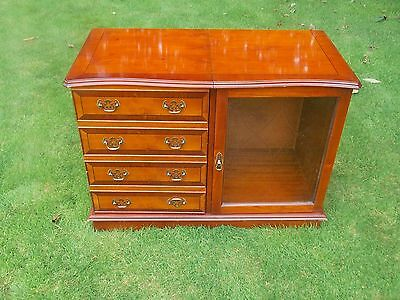 Quality yew wood / hi-fi music /storage cabinet with glass front door