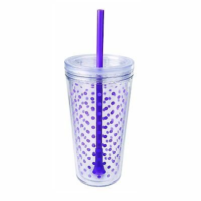 Wilton Copco Minimus 24oz Double Wall Tumbler With Removable Straw - Purple Dots