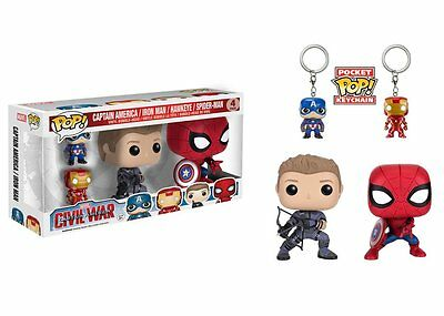 Funko Pop Marvel Captain America Civil War 4-Pack Vinyl Figures & Keychains 7604