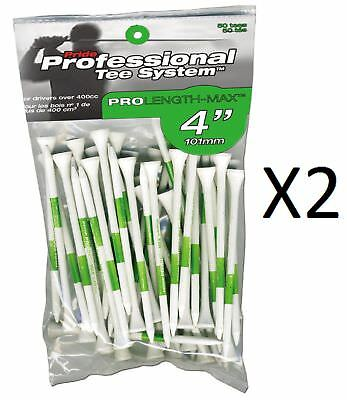 """Pride Professional - Golf Pro Length Max - 4"""",  50 Count, White/Green (2-Pack)"""
