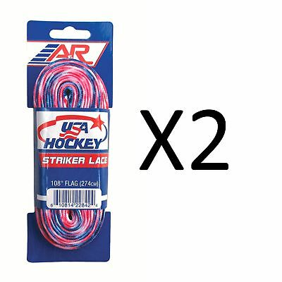 A&R Sports USA Hockey Laces - Non-Waxed Striker Laces - Flag 108 Inches (2-Pack)