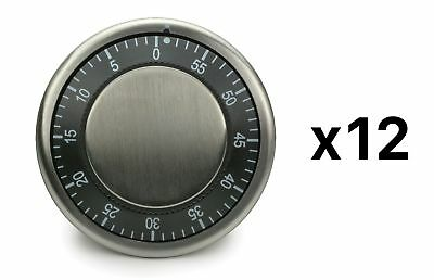RSVP Easy Read Kitchen Timer Magnetic Durable Stainless Steel Black (12-Pack)