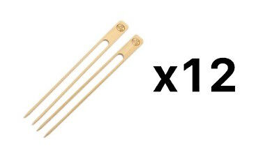 RSVP Bamboo Double Skewers 25 Ct Bbq Grilling Vegetable Meat Chicken (12-Pack)