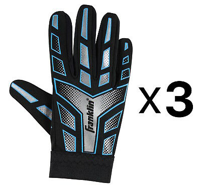 Franklin Sports Youth-Junior Receiver-Receiving Football Gloves-Large (3-Pack)