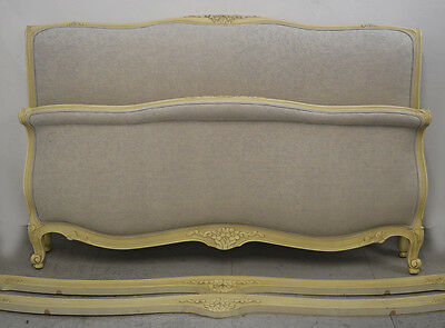 Large French King size Louis XV style upholstered Lit Bateau Bedstead
