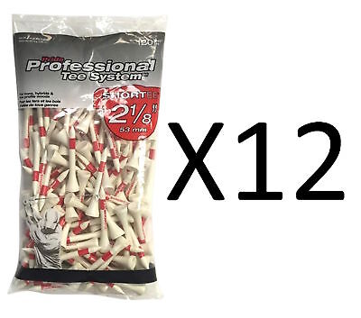 "Pride Professional Tee System Golf Short Tee Irons 2 1/8"" 120 t Wht/Rd (12-Pack)"