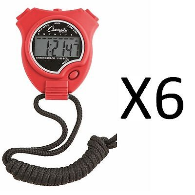 Champion Sports Running Walking Stop Watch-Stopwatch-Alarm-Red (6-Pack)