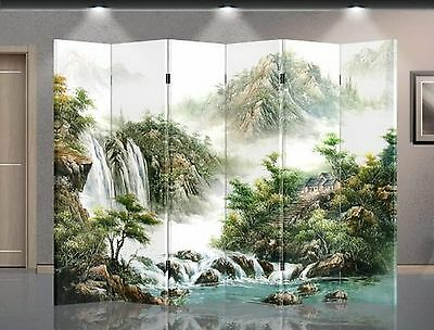 Double Sided Canvas Screen Room Divider - Mountain view