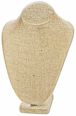 Linen Wood Necklace Bust Jewelry Display Stand Mannequin Pendant Holder Chain