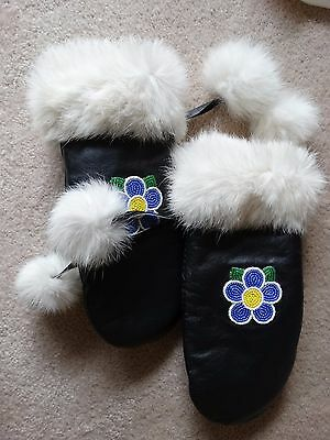 Gorgeous Eskimo Hand Made Leather And Fur Mittens
