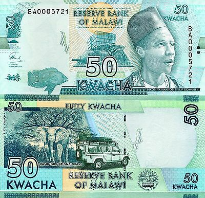 MALAWI 50 Kwacha Banknote World Paper Money UNC Currency Pick p-64 Note Bill