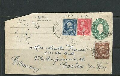 USA;  1890s early COVER FRONT used from San Fransisco to Germany