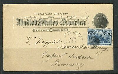 USA;  1894 early POSTAL CARD uprated used from West Point to Germany