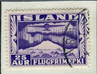ICELAND;    1934 early AIR issue fine used 25a. value