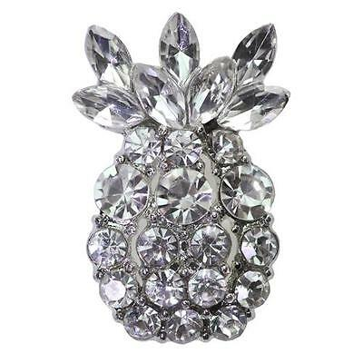 PINEAPPLE Diamante Silver Pair Shoe Clips Pearl Crystal Fruit Bridal Rhinestone