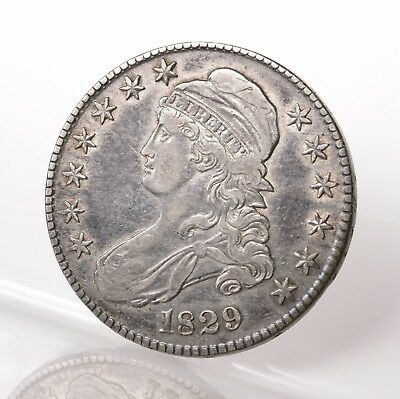 Raw 1829 Capped Bust 50C Uncertified Ungraded US Minted Silver Half Dollar Coin