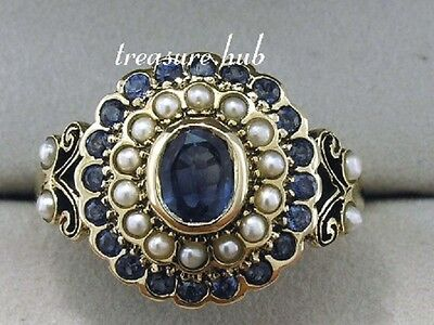C797- SUPERB 9ct Gold Natural Sapphire & Pearl Cluster Ring made in your size