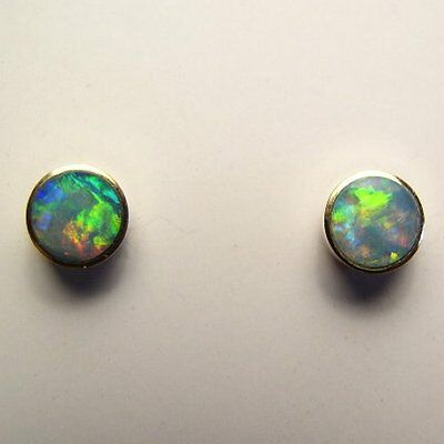 9ct solid gold .375. Solid 5mm opal earrings studs. #597