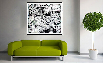"""Aboriginal Art Modern white 32"""" Witchetty grub insects by jane COA authentic"""