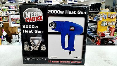 HEAT GUN 2000w ElECTRIC DUAL SPEED &TEMP  With 4 Attachments HOT AIR HEAT HOBBY