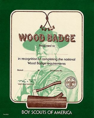 Wood Badge Course Certificate