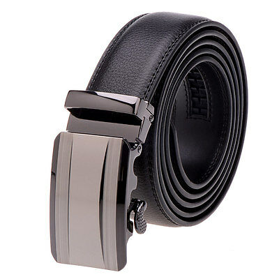 Vbiger Men's Automatic Buckle Belts Leather Waist Strap Waistband Casual Black