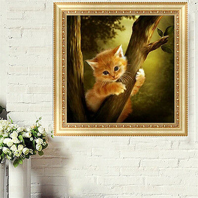 5D Diamond Embroidery Mosaic Naughty Cat Painting Cross Stitch DIY Home Decor