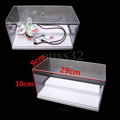"""11.4x3.5x3.9"""" Acrylic Display White 2 Steps Box Case Dustproof Tray Protection"""