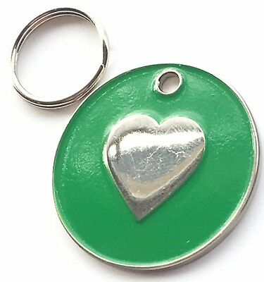 Personalised Engraved Green Enamel Love Heart - Dog/Cat Pet ID Tag 26mm