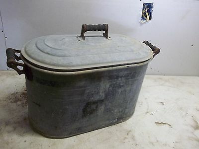 Old Galvanized Steel Laundry Wash Boiler Flower Pot Garden Planter with lid