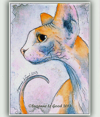 Large Limited Edition Sphynx Cat Print From Original Painting By Suzanne Le Good