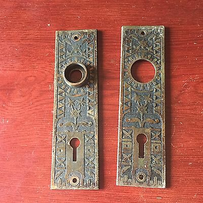 VTG Antique Pair Of Victorian Design Solid Brass Door Knob Backplates