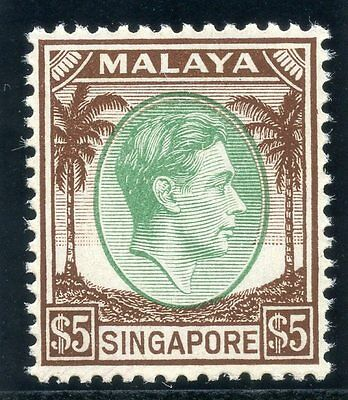 Singapore 1948 KGVI $5 green & brown superb MNH. SG 15. Sc 20.