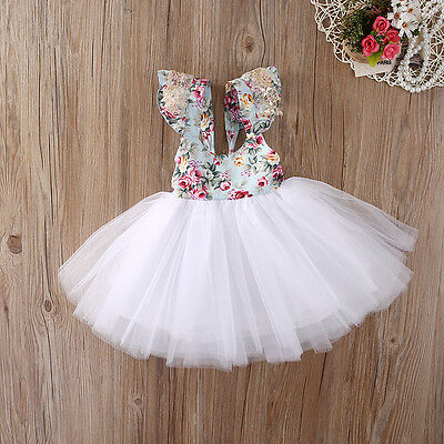 Infant Toddler Baby Flower Girl Floral Tulle Dress Party Bridesmaid Dresses XMAS