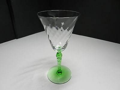 "Fostoria Water Goblet #5097 Swirl Optic Twist Stem Green Clear 7 1/4"" ca 1931-40"