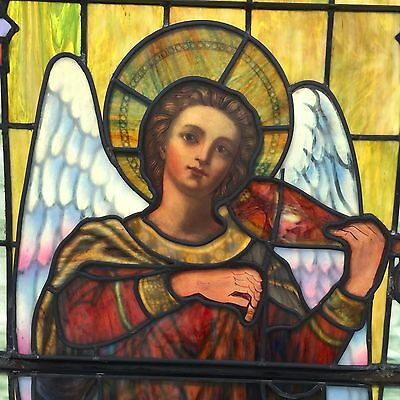 Monumental and spectacular angel stained glass  window