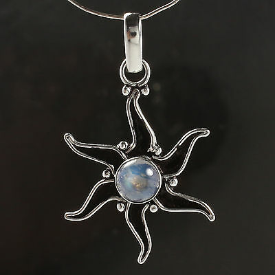 925 Silver Plated BLUE FIRE RAINBOW MOONSTONE Gem TRADITIONAL STAR Pendant 4.0cm