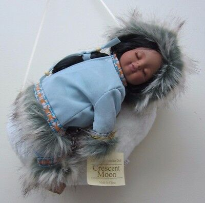 Show-Stoppers Collectible Porcelain Native American Doll Laying on Crescent Moon