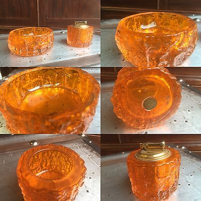 Uncatalogued Whitefriars & Colibri Tangerine Colour Lighter & Ashtray. Offers?